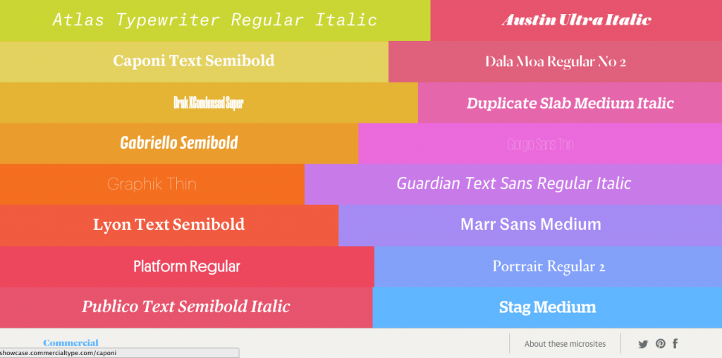 Showcase of the web fonts created by Commercial Type
