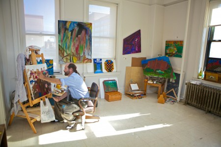 Artist at work in studio space