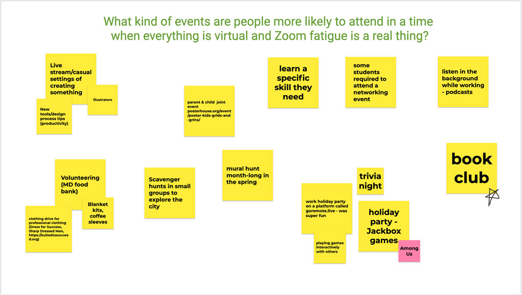 What type of virtual or socially distanced events do people want